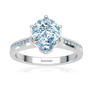 Channel Set Pear Cut Diamond Engagement Ring