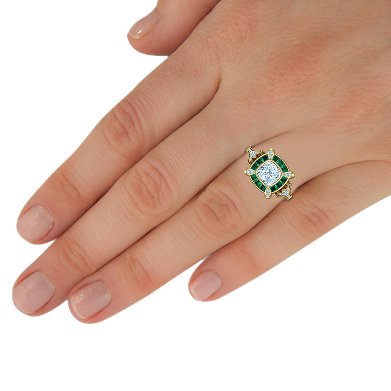 Cleopatra Diamond Ring with Emerald Accents