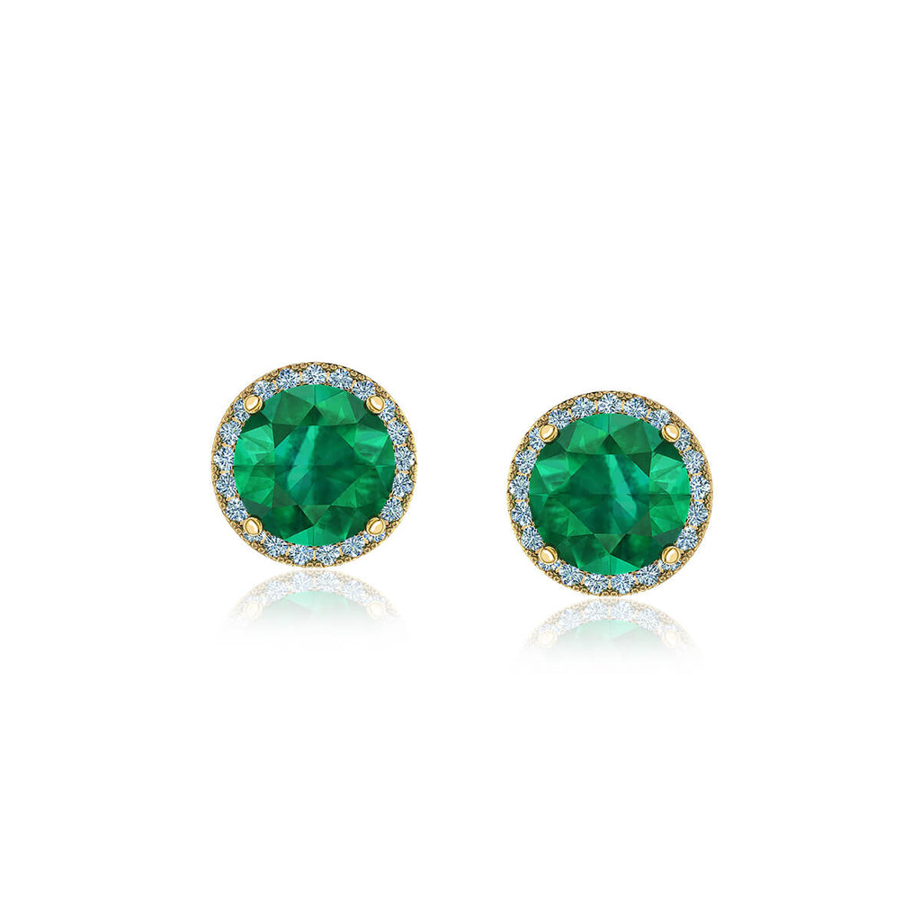 Emerald and Pavé Diamond Halo Earrings