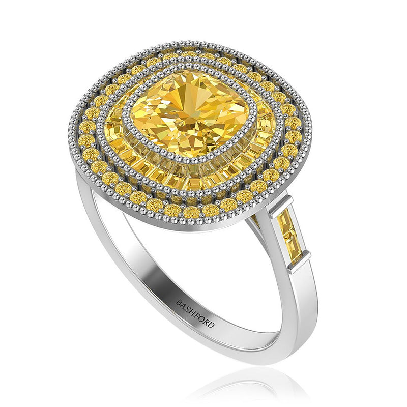 Cushion Yellow Diamond Halo Ring