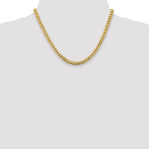 14k Yellow Gold 5.5mm Solid Miami Cuban Chain