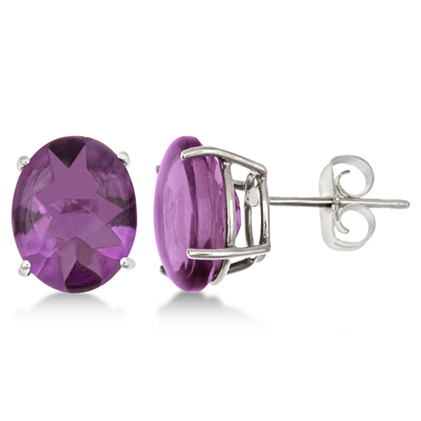 14K Oval Amethyst Stud Earrings