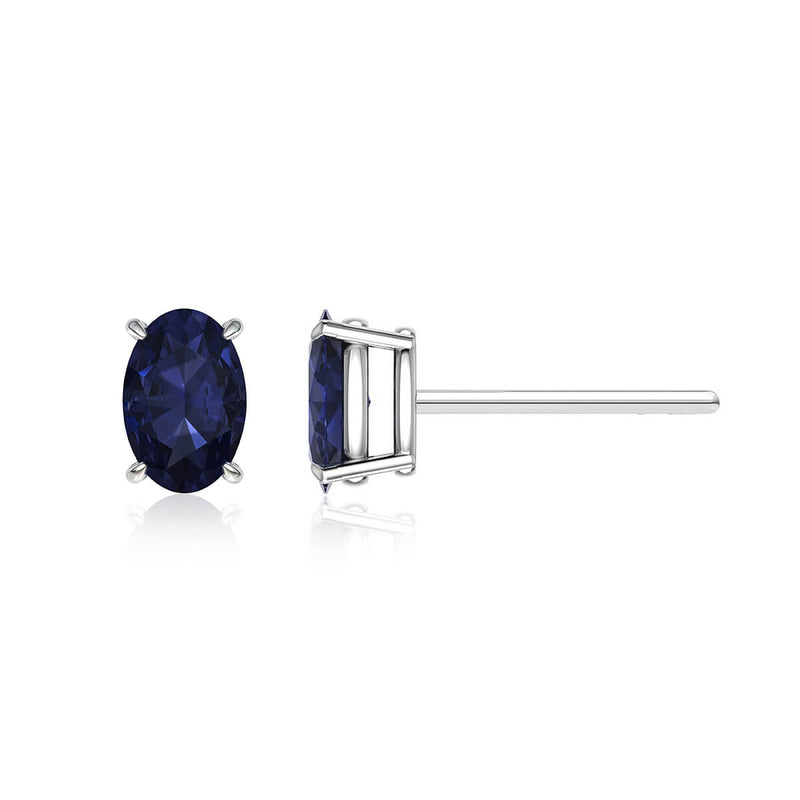 Blue Sapphire Oval Stud Earrings