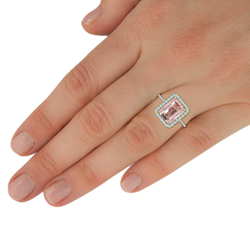 Emerald Cut Morganite Diamond Halo Ring