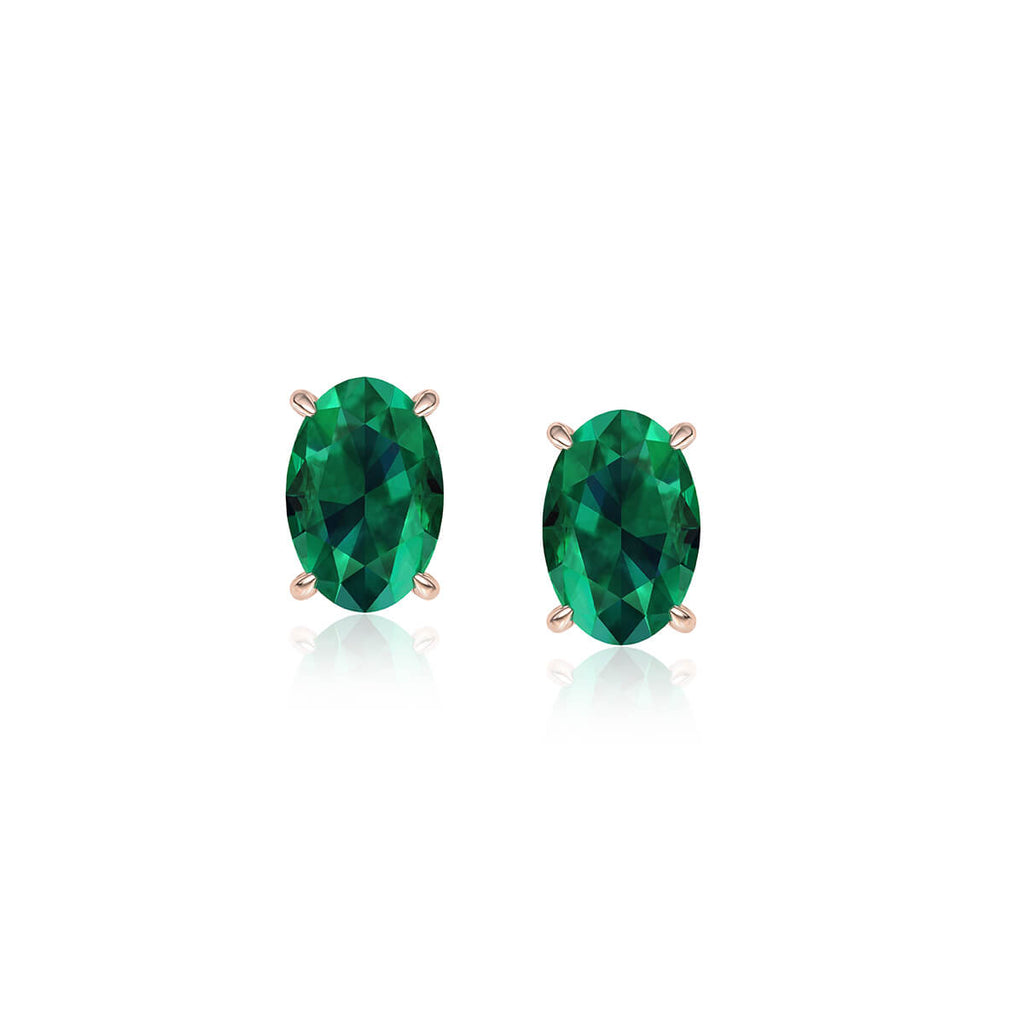 Green Emerald Oval Stud Earrings