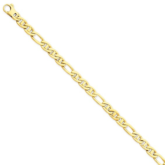 14kYellow 6.5mm Solid Hand-Polished 3 and 1 Flat Anchor Chain