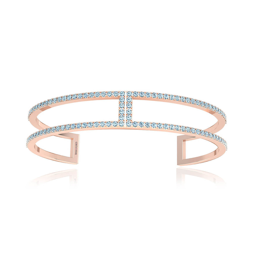 Two Hinged Pave Diamond Bangle