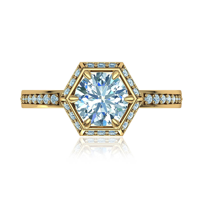Hexagon Halo Diamond Ring