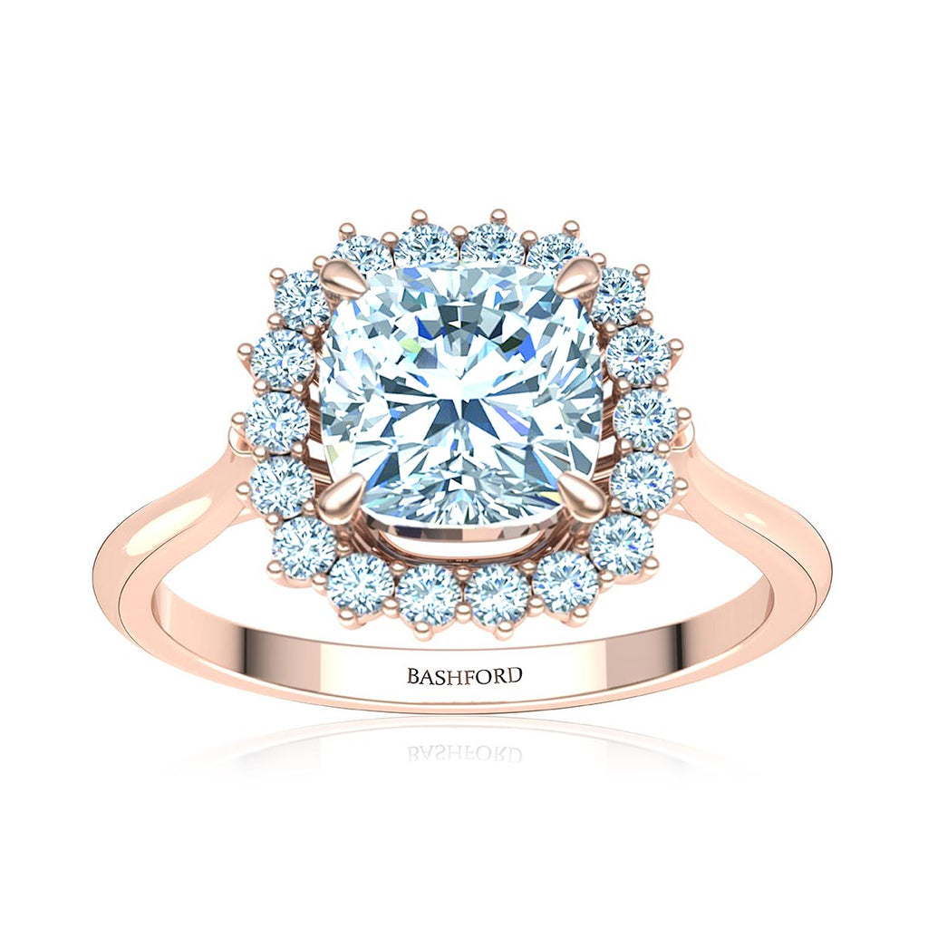 Cushion-Cut Halo Diamond Ring