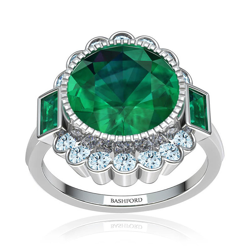 Milagrosa Emerald & Diamond Halo Ring