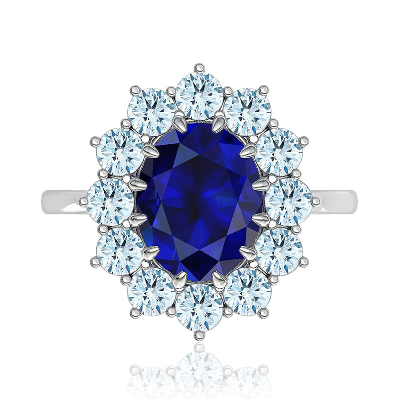 Princess Diana Inspired Oval Sapphire and Diamond Ring
