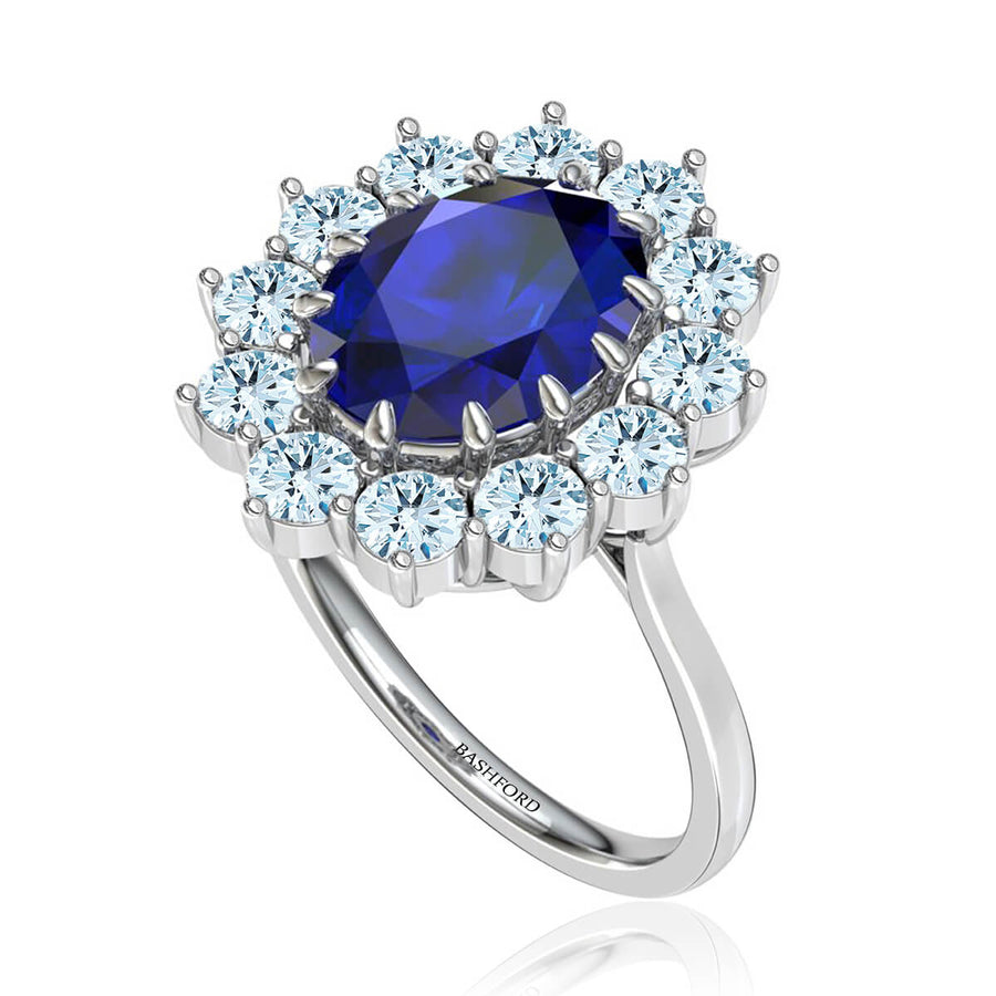 Oval Sapphire and Diamond Princess Diana Inspired Ring