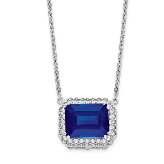 14K Octagon Halo Sapphire and Diamond Necklace