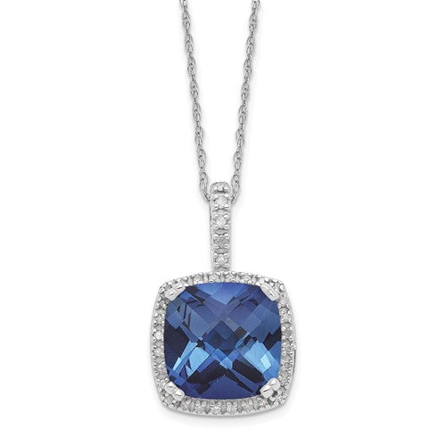 Round Ceylon Sapphire and Diamond Necklace