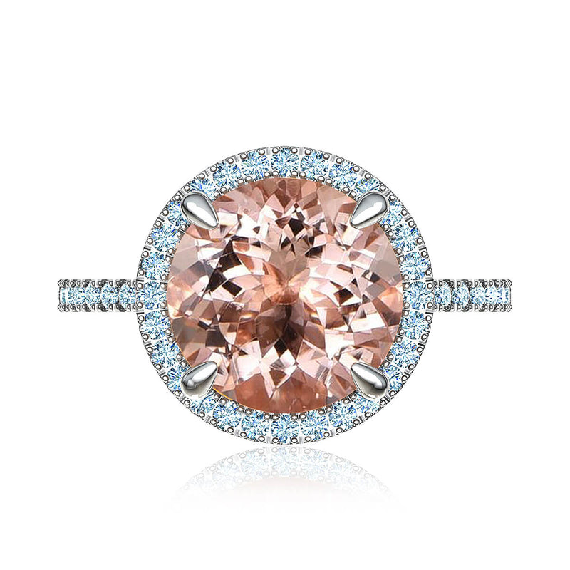 Peach Morganite and Diamond Halo Ring