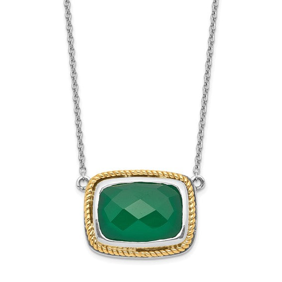 Sterling Silver with 14k Green Onyx Necklace