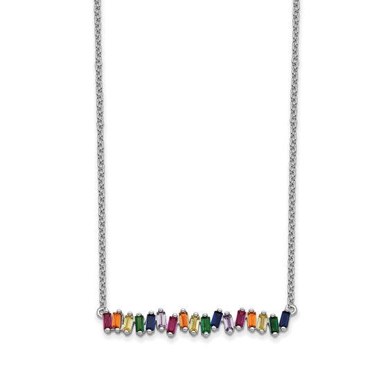 Sterling Silver Colorful Gems Bar Necklace