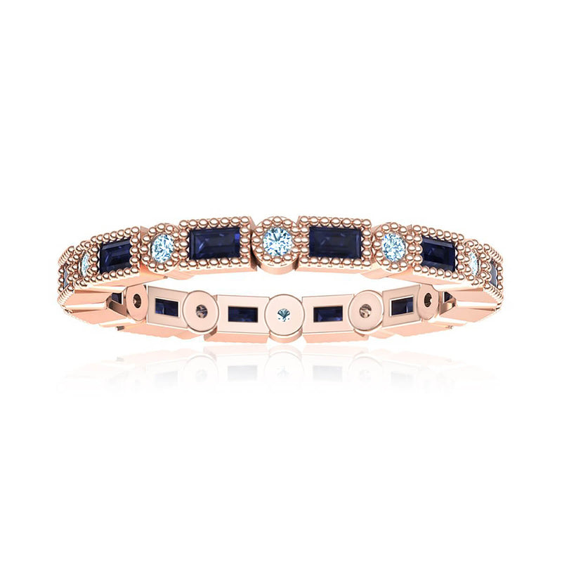 Blue Sapphire Eternity Diamond Ring (3/8 ct. tw.)