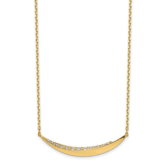 14K Curved Moon Necklace