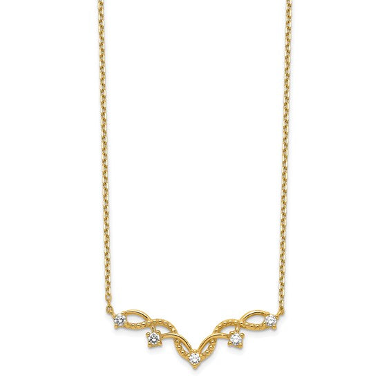 14K Woven Bar Necklace