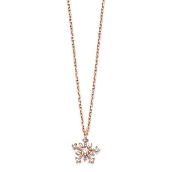 14K Rose Gold Snowflake Necklace