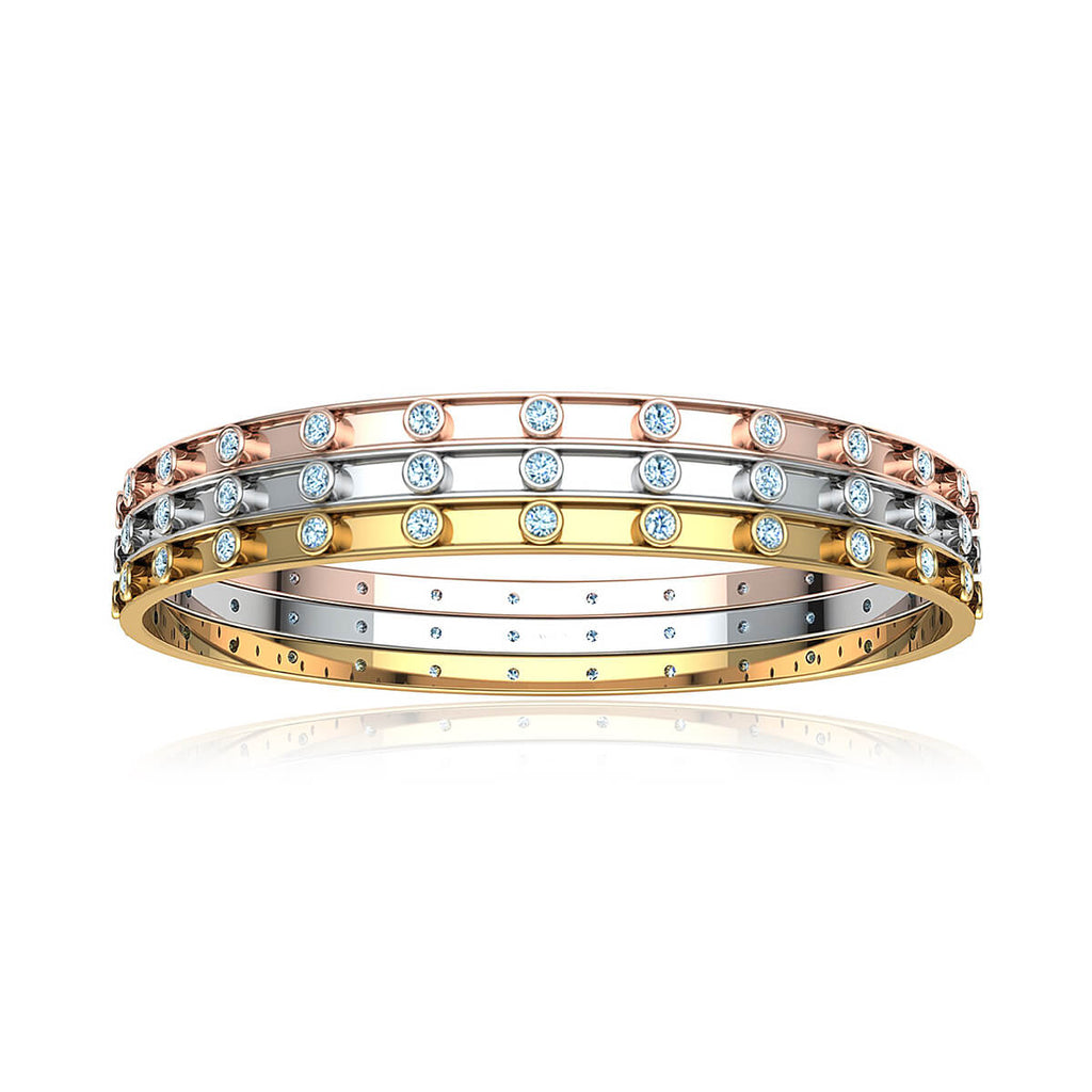 Triple Diamond Bezel Bangle