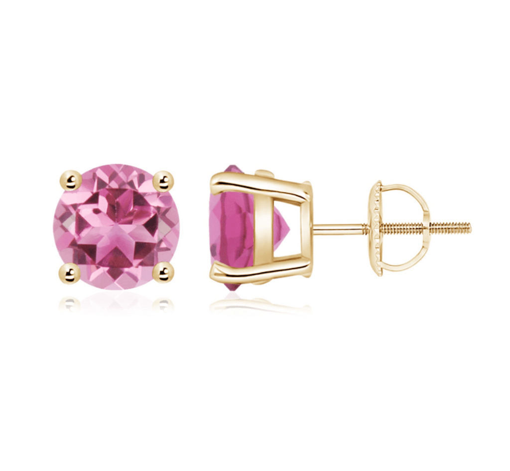 14k 8mm Pink Tourmaline Earring