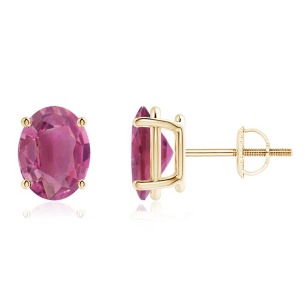 14k 9x7mm Oval Pink Tourmaline Earring