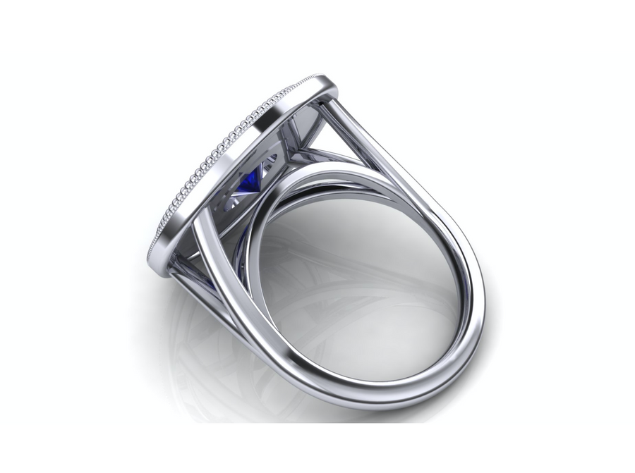 Custom Ring Reserved for Phat - Ingrid Blue Sapphire & Diamond Ring
