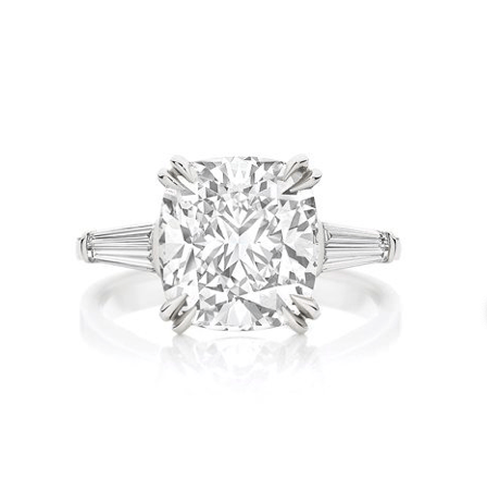 Classic Cushion Cut Tapered Baguettes Engagement Ring