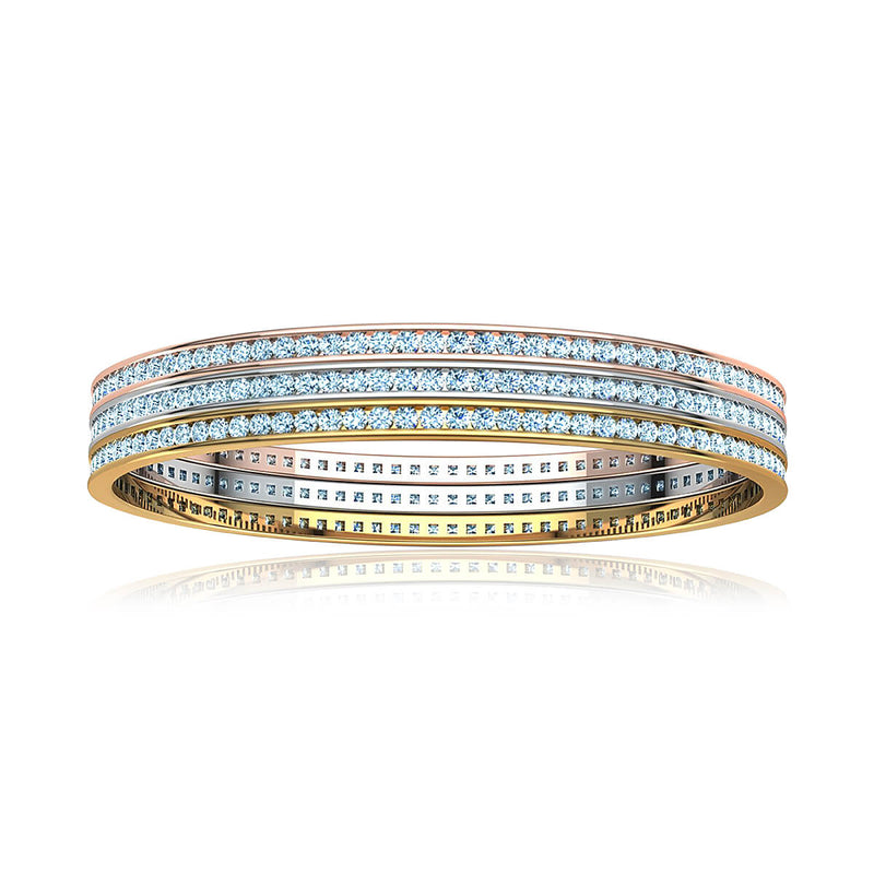 Triple Row Diamond Bangle Bracelet