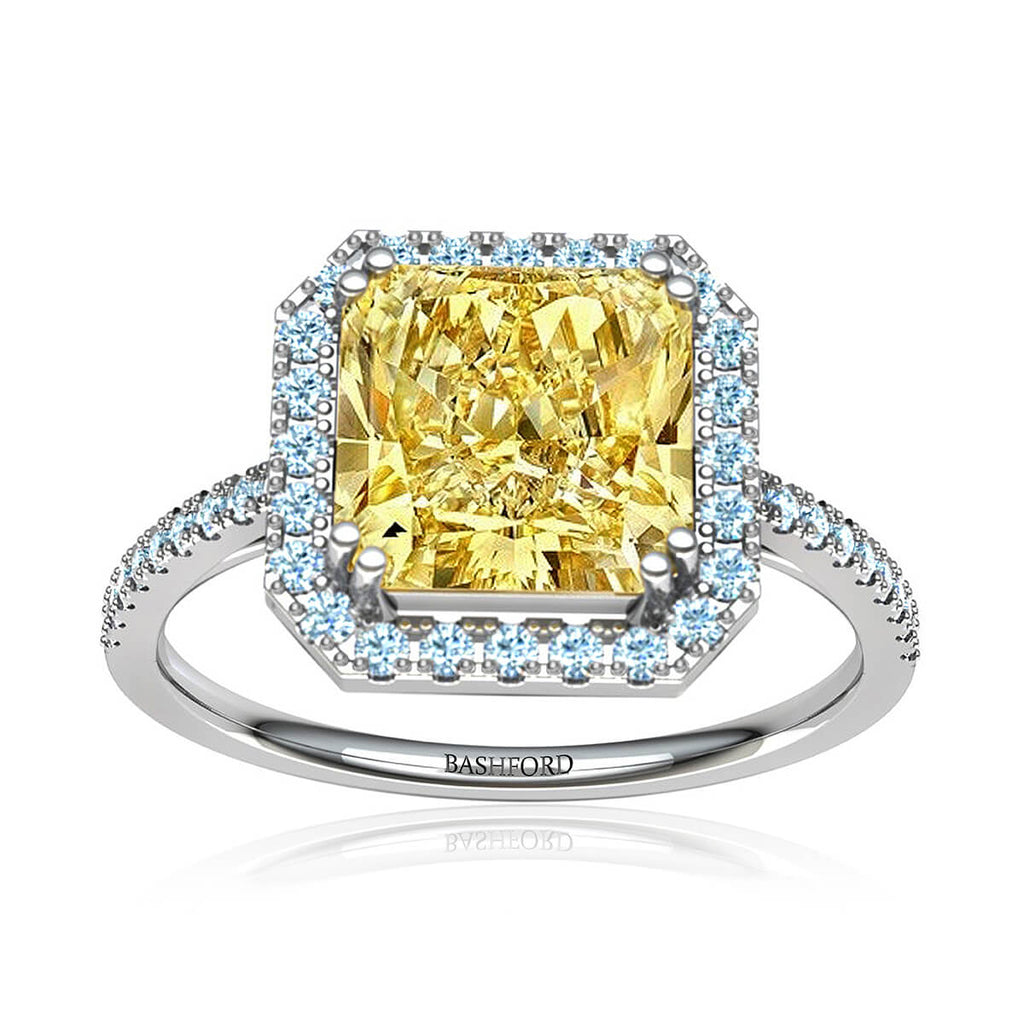 Sunburst Yellow Diamond Halo Ring