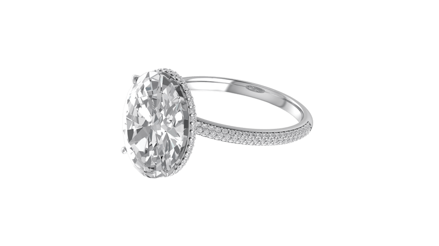 1.5ct Oval Three Row Micropavé Engagement Ring