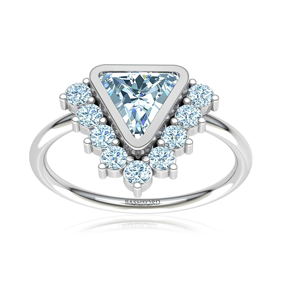 Trillion Diamond Triangle Halo Ring