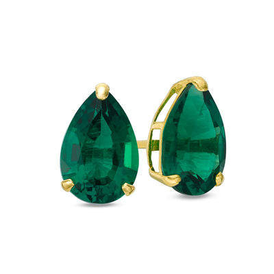 14K Pear Emerald Stud Earrings