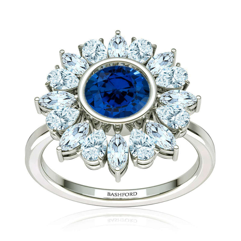 Whimsical Bloom Sapphire & Diamond Ring