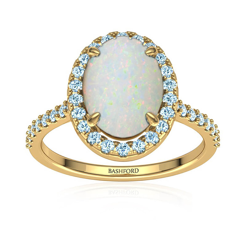 Oval White Opal and Diamond Halo Ring