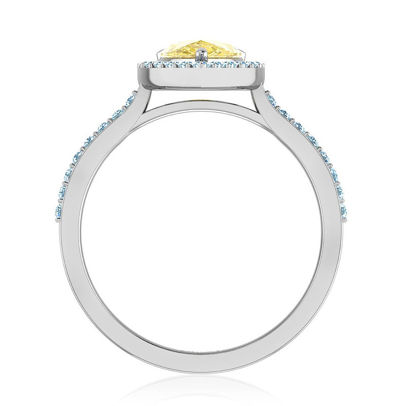Fancy Yellow Pear Diamond Ring
