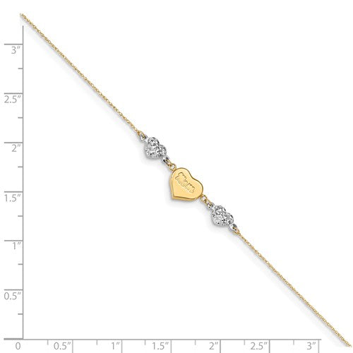 "14K Two-Tone Puffed Hearts MOM With 1"" Ext Anklet"