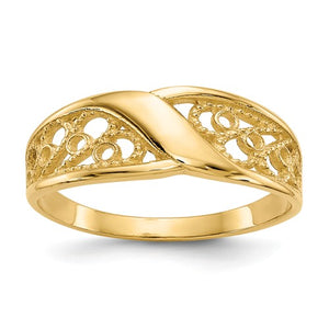 14K Yellow Gold Polished Filigree Ring