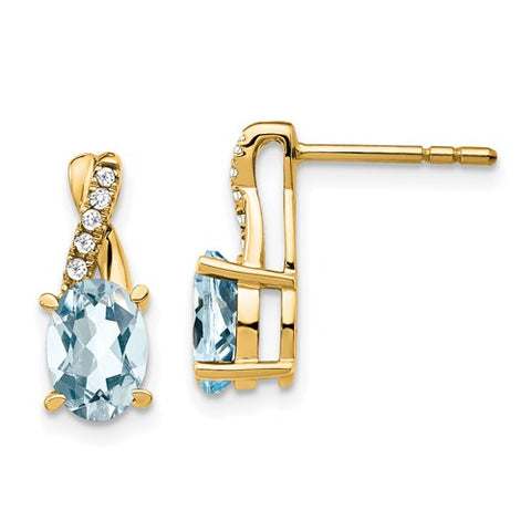 "Initial ""I"" 14k Gold Diamond Stud Earrings"