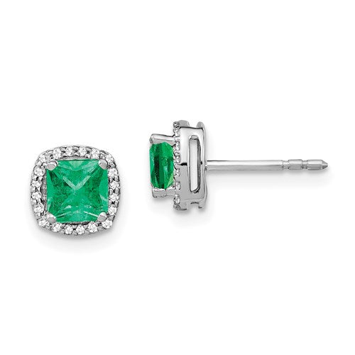 14K Cushion Emerald And Diamond Halo Earrings