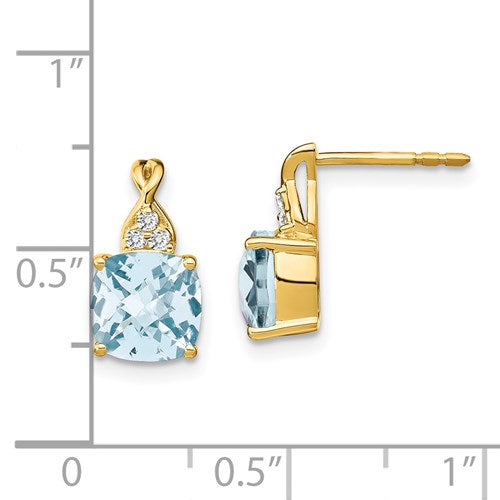 14K Checker-Cut Aquamarine And Diamond Earrings