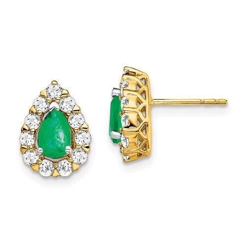 14K Pear Halo Emerald Stud Earrings