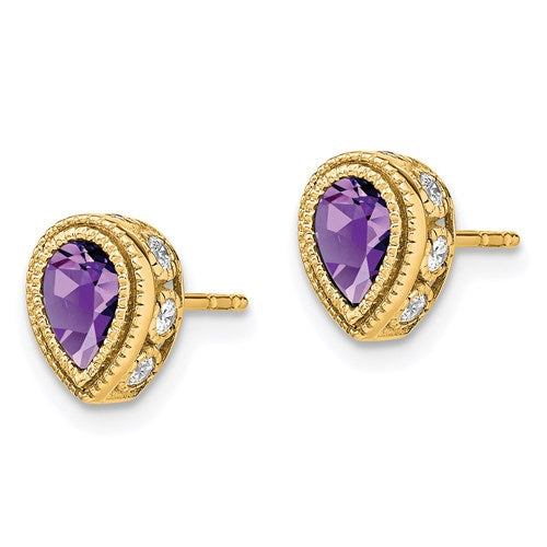 14K Pear Amethyst And Diamond Earrings