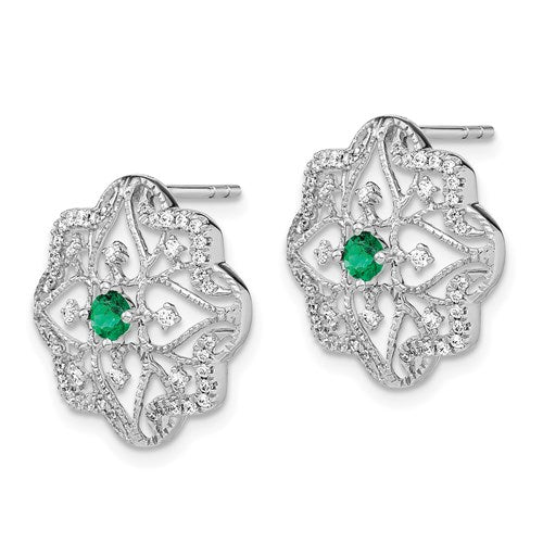 14K Emerald And Diamond Earrings