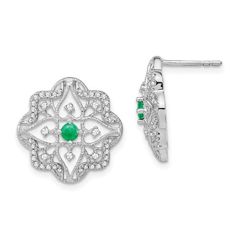 14k Oval Emerald And Diamond Halo Earrings