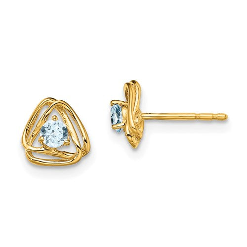 14K Aquamarine Triangle Stud Earrings