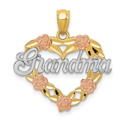 14k Two-Tone And Rhodium Grandma Heart Pendant