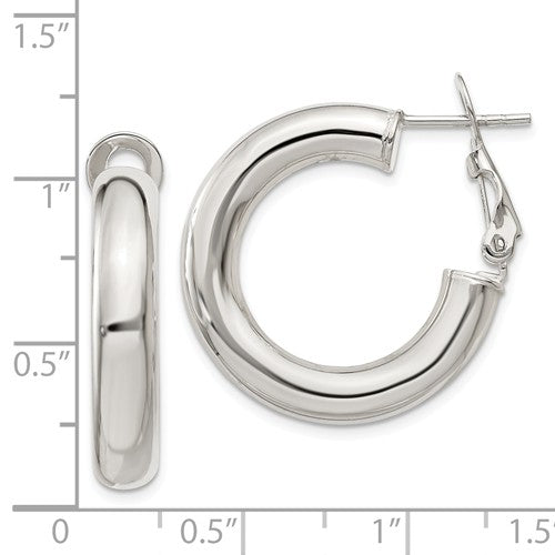 Sterling Silver Omega Back Hoop Earrings